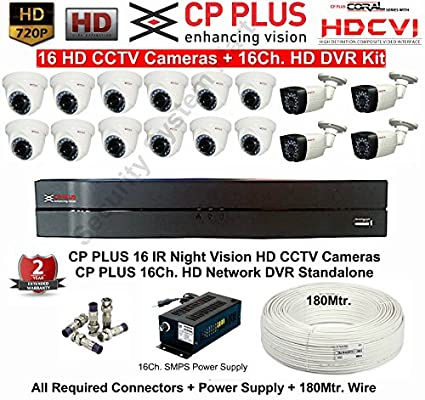 CP PLUS 16 HD CCTV Cameras (1MP) with 16Ch. HD DVR Kit with all Accessories Bullet Cameras at amazon