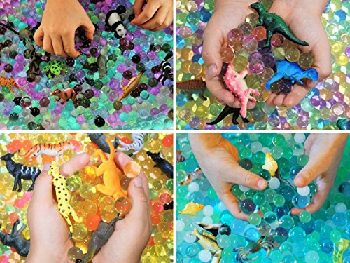 Water Beads Sensory Bin Therapy Kits - 4 Dew Drop Sets Included - Ocean Explorers Jungle Excursion, African Safari, Dinosaur Discovery.