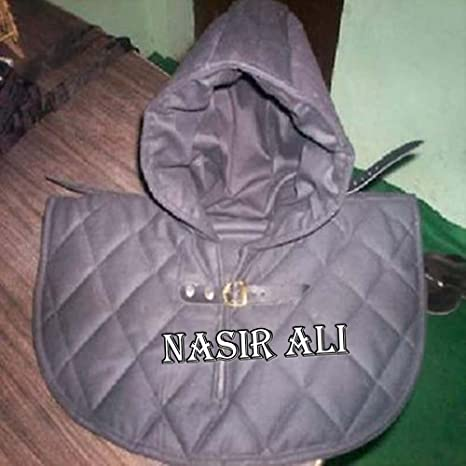 Black Renaissance Medieval Cotton Padded Armor Collar and Coif Arming Cap