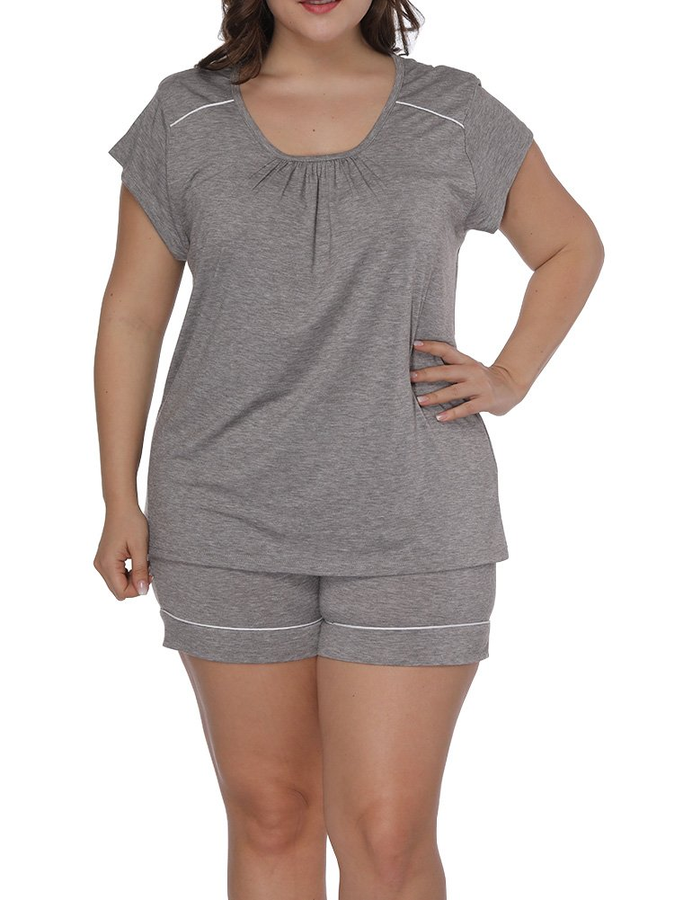 Allegrace Women Plus Size Square Collar Short Sleeve 2 Piece Pajama Sets Sleepwear Gray 3X
