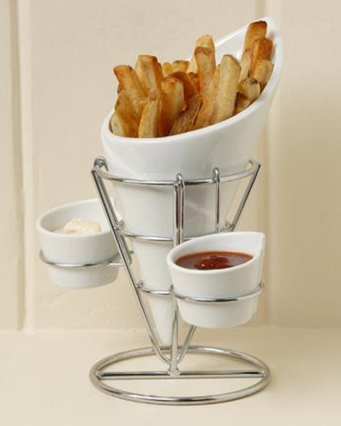 Gibson Table Compliments, 4 Piece French Fry Serving Set with Metal Rack