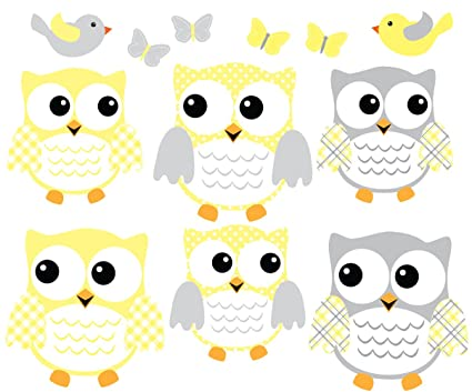 Owl Decals, Yellow and Gray Owl Stickers, Nursery Wall Art ...