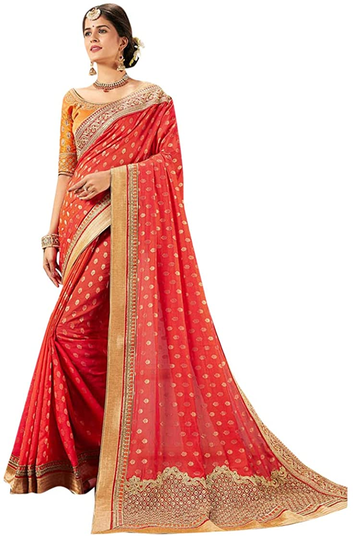 Designer Pink Zari Embroidery Bollywood Style Sari Cotton Silk Party Wear Saree