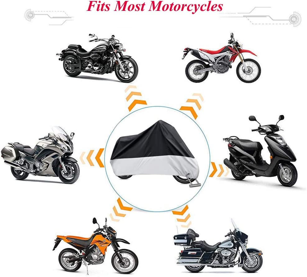 Motorcycle Cover Waterproof Outdoor Heavy Duty Fit up to 108 Motors 2XL with Lockhole All Season Universal Weather Protection Against Dust Debris Rain Sun Durable Tearproof