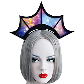 Amazon.com   Halloween Fashion Queen Black Lace Headbands Girl Large Tiara  Crown Hairbands Headands Woman Cosplay Party Hair Accessories (Colorful)    Beauty 96486d1c119