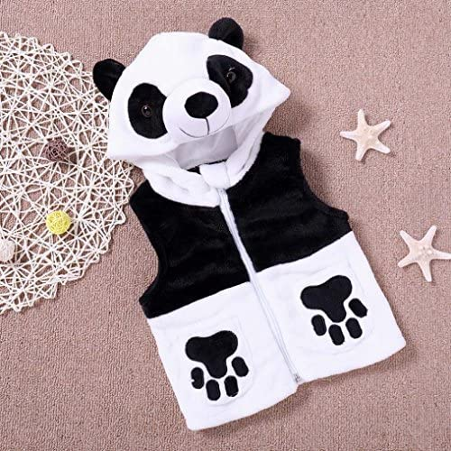KONFA Toddler Baby Girls Boys Cartoon Panda Hooded Waistcoat,Suitable for 1-4 Years Old,Winter Warm Flannel Cloak Tops