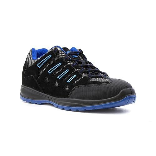 Earth Works Safety - Zapato de seguridad, acordonado, azul marino, para hombre EarthWorks - Talla 9 UK / 43 EU - Azul
