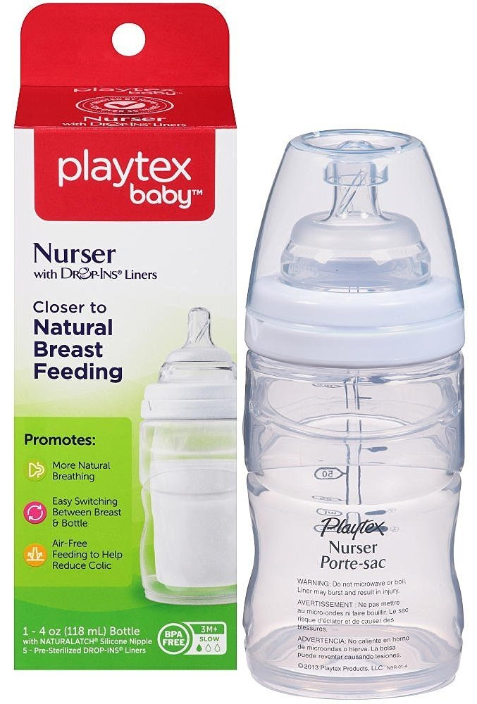 Amazon.com: Playtex Drop-Ins Premium Nurser Bottle, 4 Ounce, White: Beauty