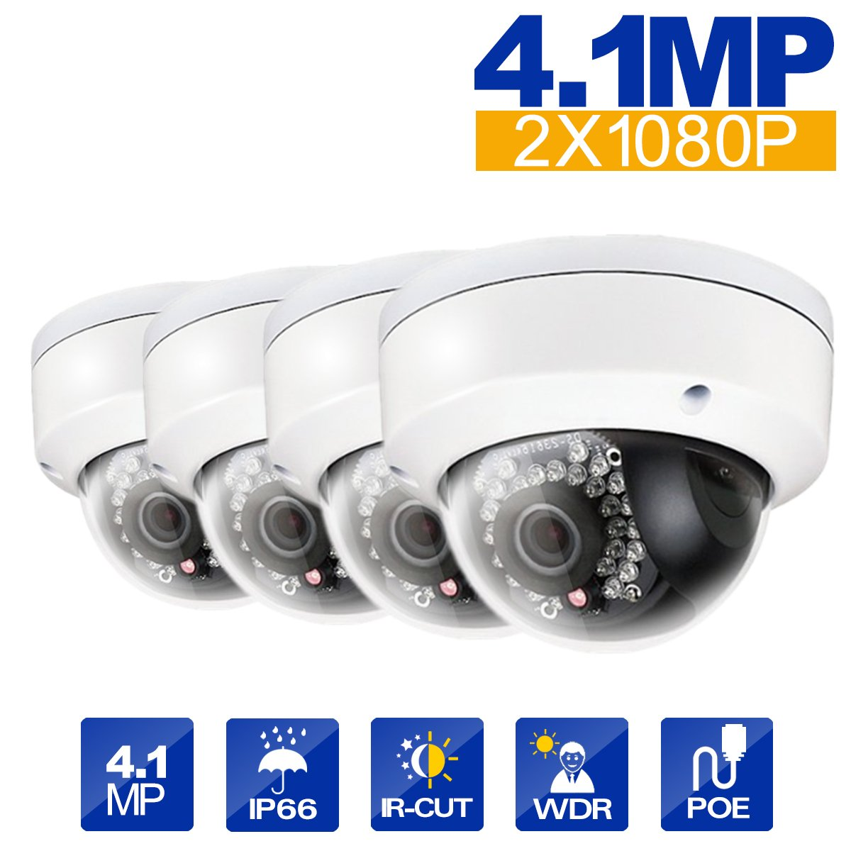 Hikvision 4pcs DS-2CD2142FWD-I 4mm Lens 4MP(2688 × 1520) WDR Fixed Dome Network Camera PoE IR range 30M Day/Night Vision IP67 Waterproof English Version