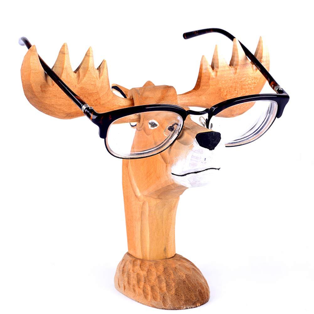 YOURNELO Cute Wood Carving Animal Eyeglass Holder (Moose)