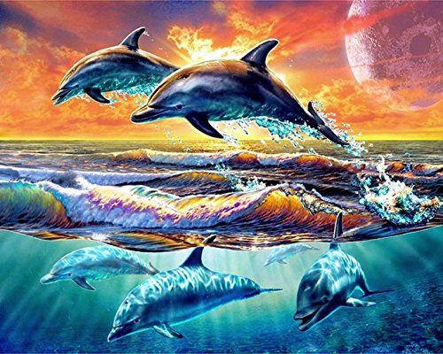 - 21secret 5D Diamond Diy Painting Full Round Drill Handmade Sea Sunset Playful Dolphins Cross Stitch Home Decor Embroidery Kit