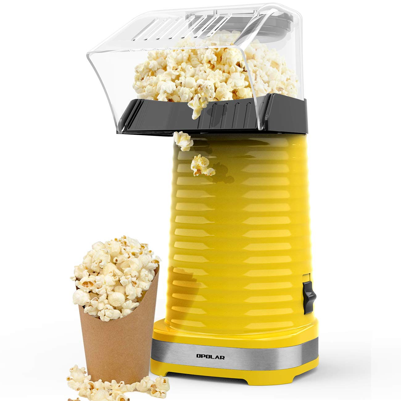 OPOLAR Hot Air Popcorn Popper Electric Machine, Fast Popcorn Maker with Measuring Cup and Removable Top Cover, Ideal for Watching Movies and Holding Parties in Home, Healthy, 1200W, BPA-Free Yellow