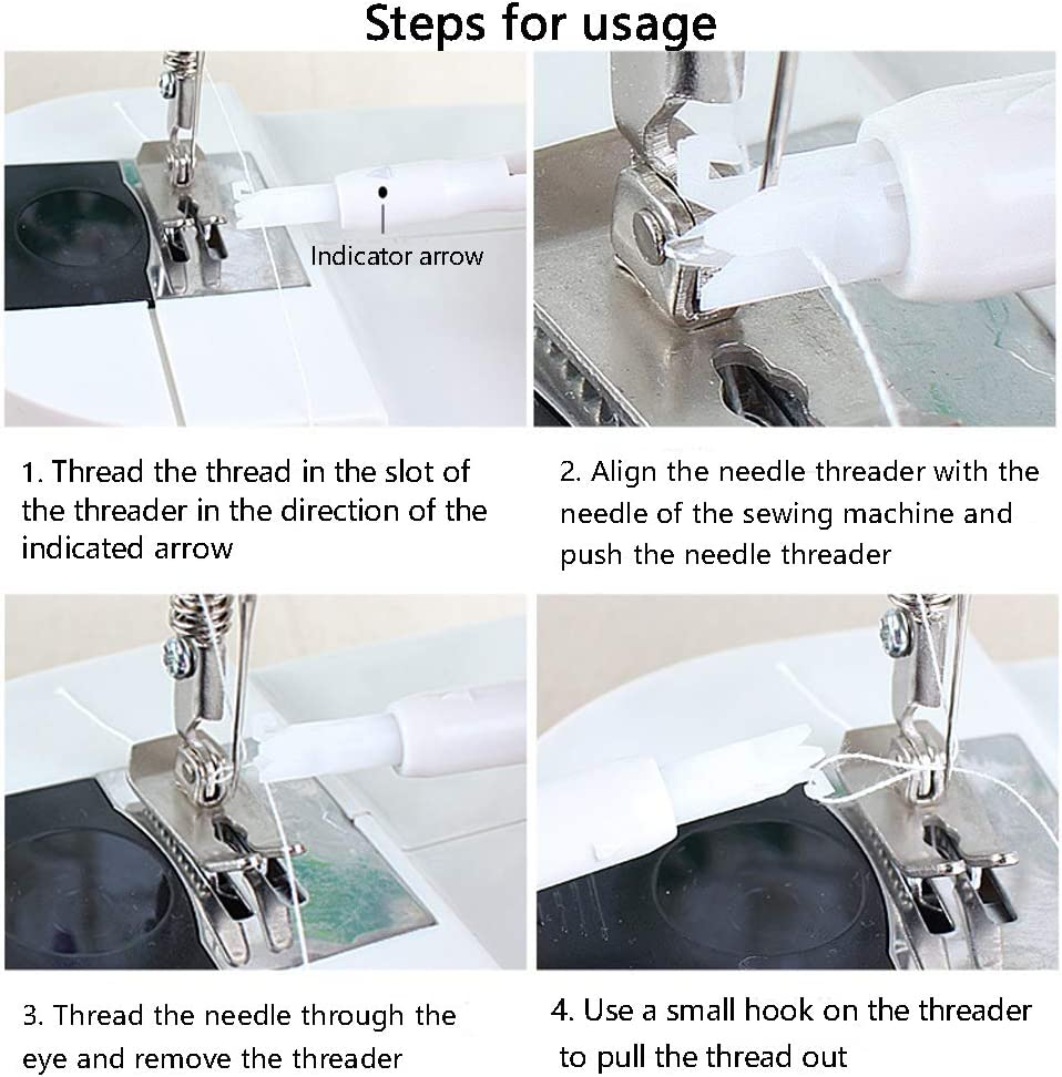 Honeypomelo 6 Pieces Sewing Machine Automatic Threader Efficient Sewing Needle Inserter Household Needle Threader Threading Tool for Sewing Machine Sewing Machine Needle Changer Blue and White