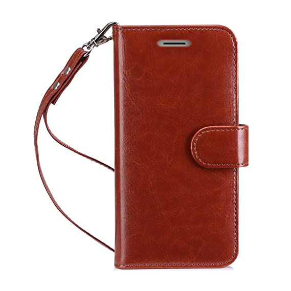 FYY Case for Moto G5 Plus, [RFID Blocking wallet] Premium Leather Handmade  Wallet Case Stand Cover Credit Card Protector for Moto G5 Plus Dark Brown