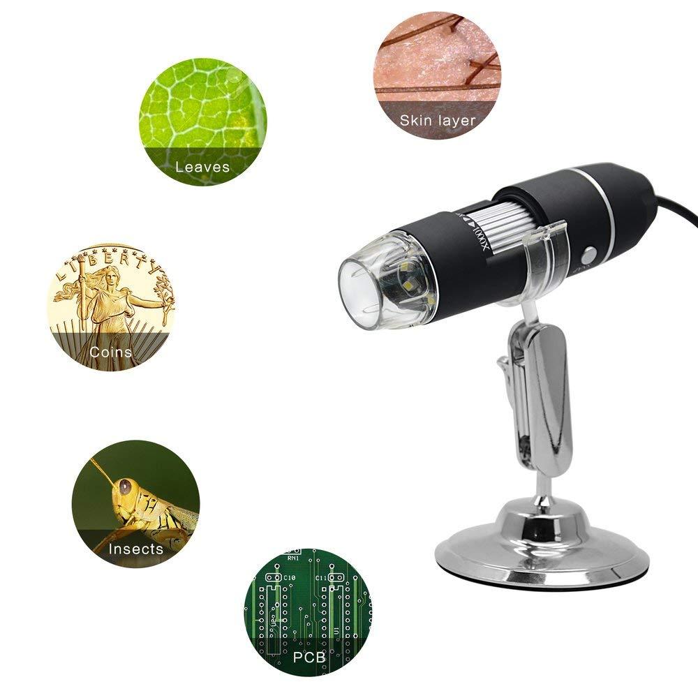 Manakayla 500X//1000X 8 LED Electronic Microscope Digital Microscope Electron Microscope Matte Black 500x