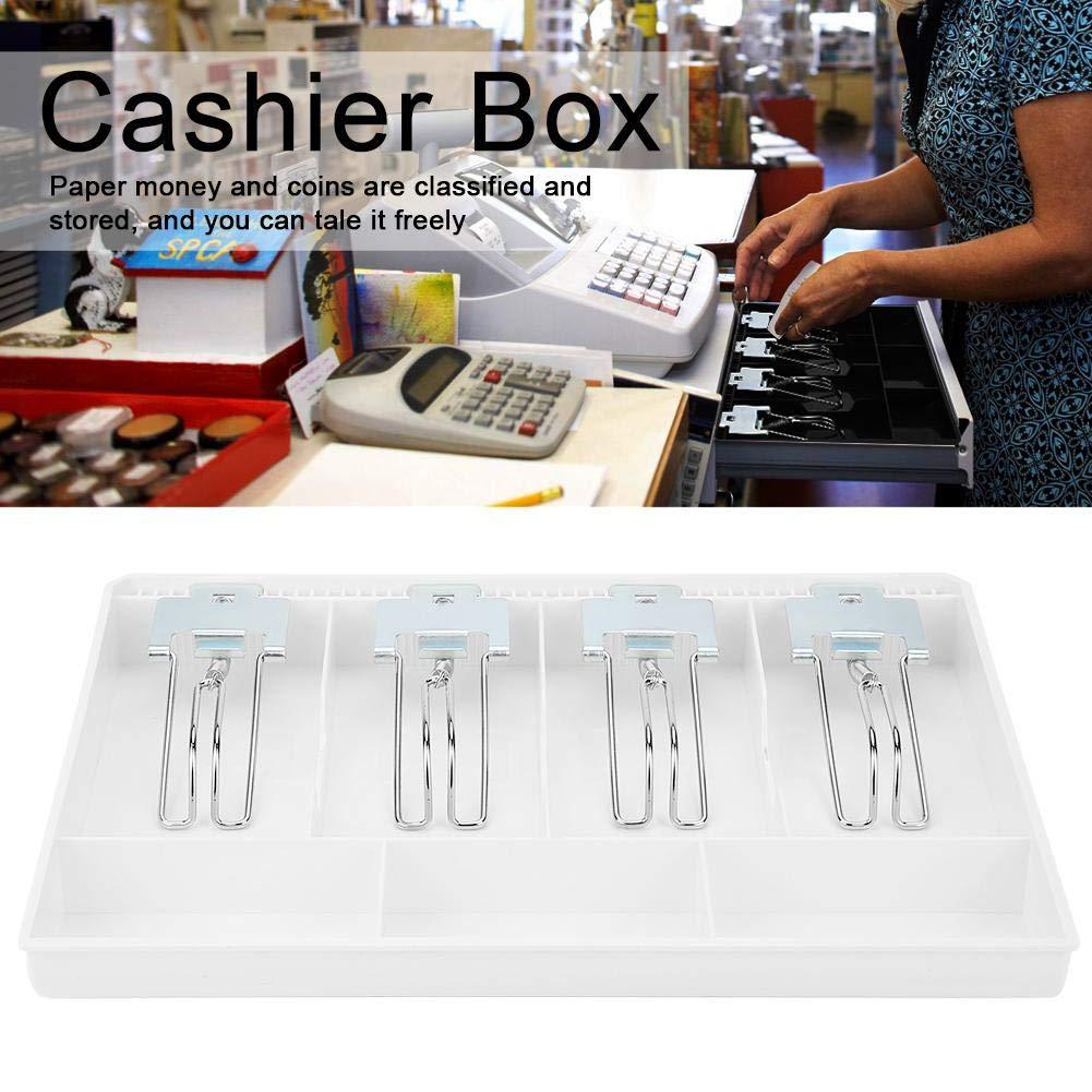 3 fessure per monete 4 scomparti Cassetto del registratore di cassa Inserire il vassoio di scorta,cassetta di sicurezza inserto per il registratore di cassa Cassetto porta contanti Bianco