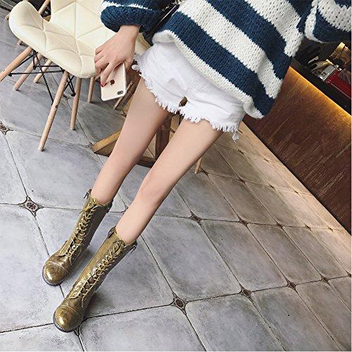 Vintage Inverno Fodera Piatto Verde Minetom Elegante Scarpe Plaid Casual Boots Stivali Stivaletti Moda Donna Martin Stringate 1qxaRP