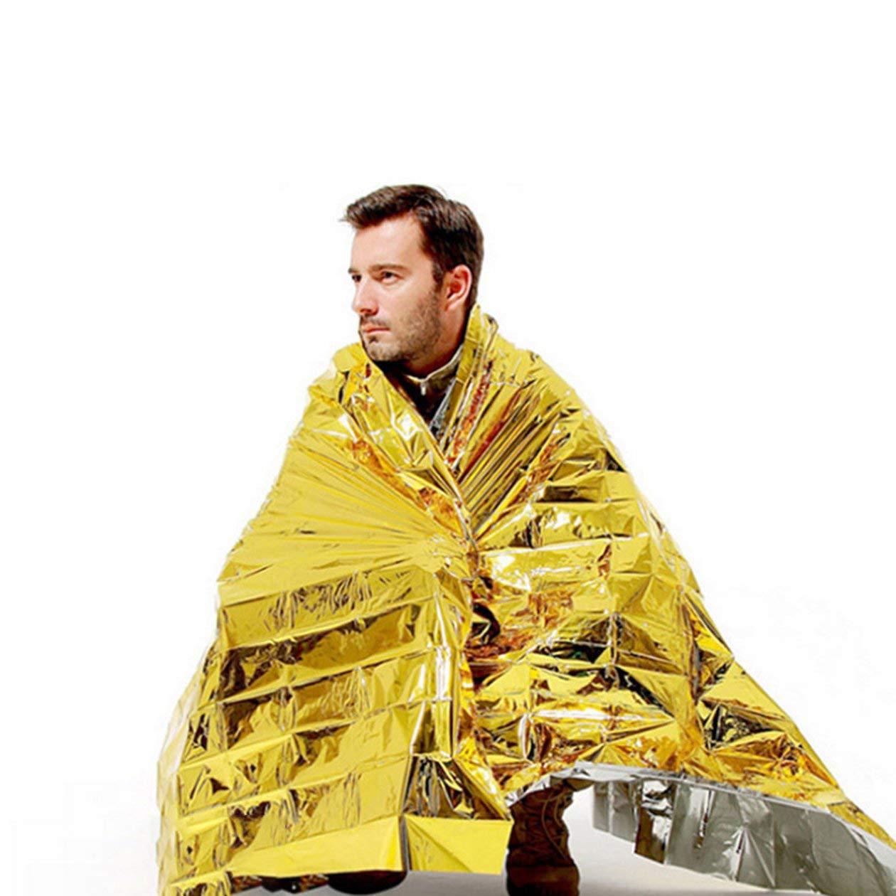 Oro y Plata BIYI Pet Manta de Rescate de Emergencia Manta de Aislamiento de Supervivencia al Aire Libre Pel/ícula de Revestimiento Manta de Rescate Que Salva Vidas 140X210
