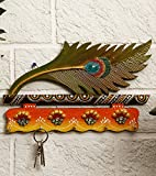 CraftVatika Artificial Peacock Feather Mor Pankh Decorative Key Hook Wooden Holder | Home Decor