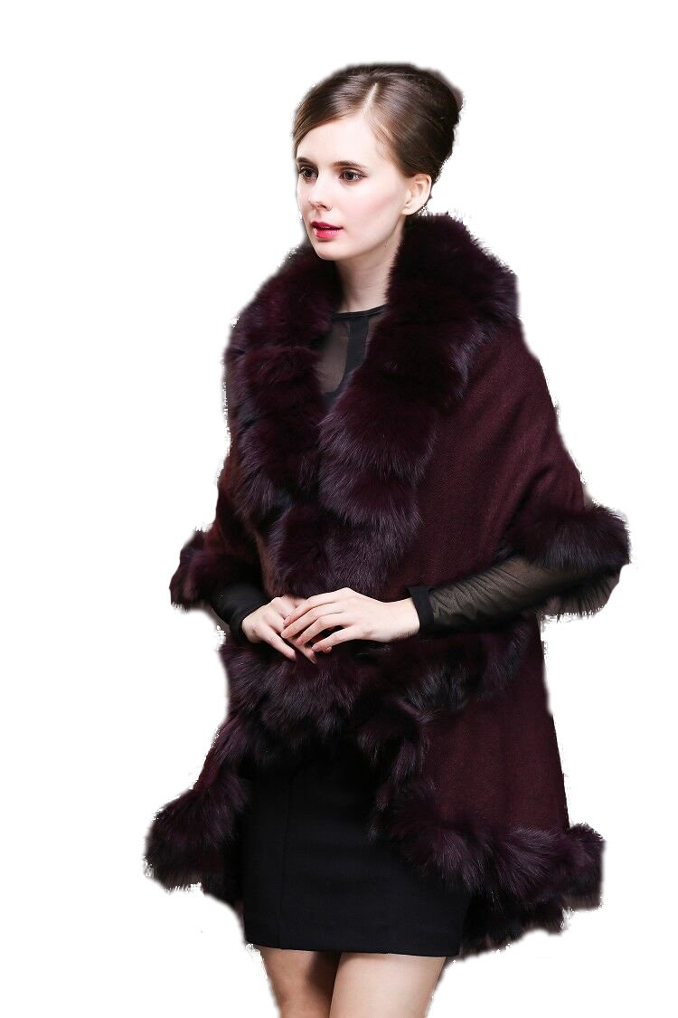 Women Elastic knitted Coat Poncho Genuine Fox Fur Trim all around Double Cape (wine red)