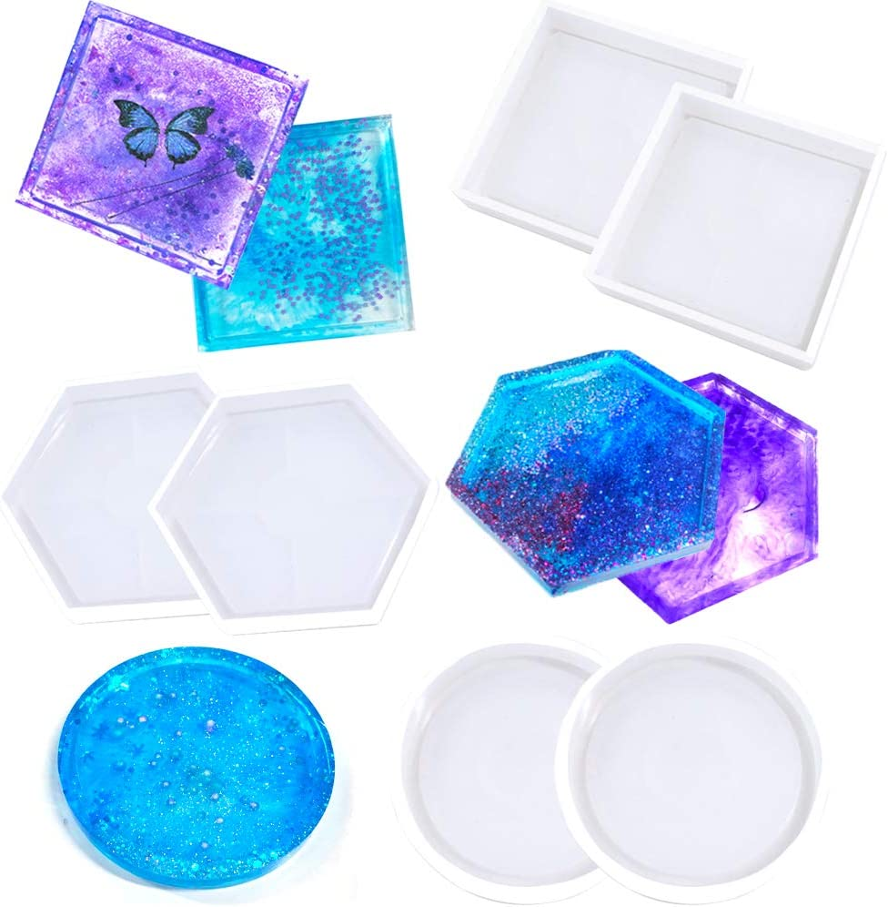 Resin Coaster Mold Making Coasters Kit Casting Resin Molds Silicone Mold Round Coaster Mold Square Coaster Mold Hexagon Coaster Mold Molds