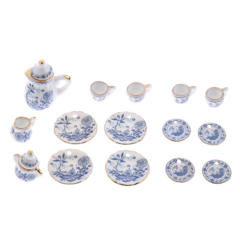 15PCS Blue Flower Porcelain Coffee Tea Cup Miniature 1:12 Dollhouse Decor Gift