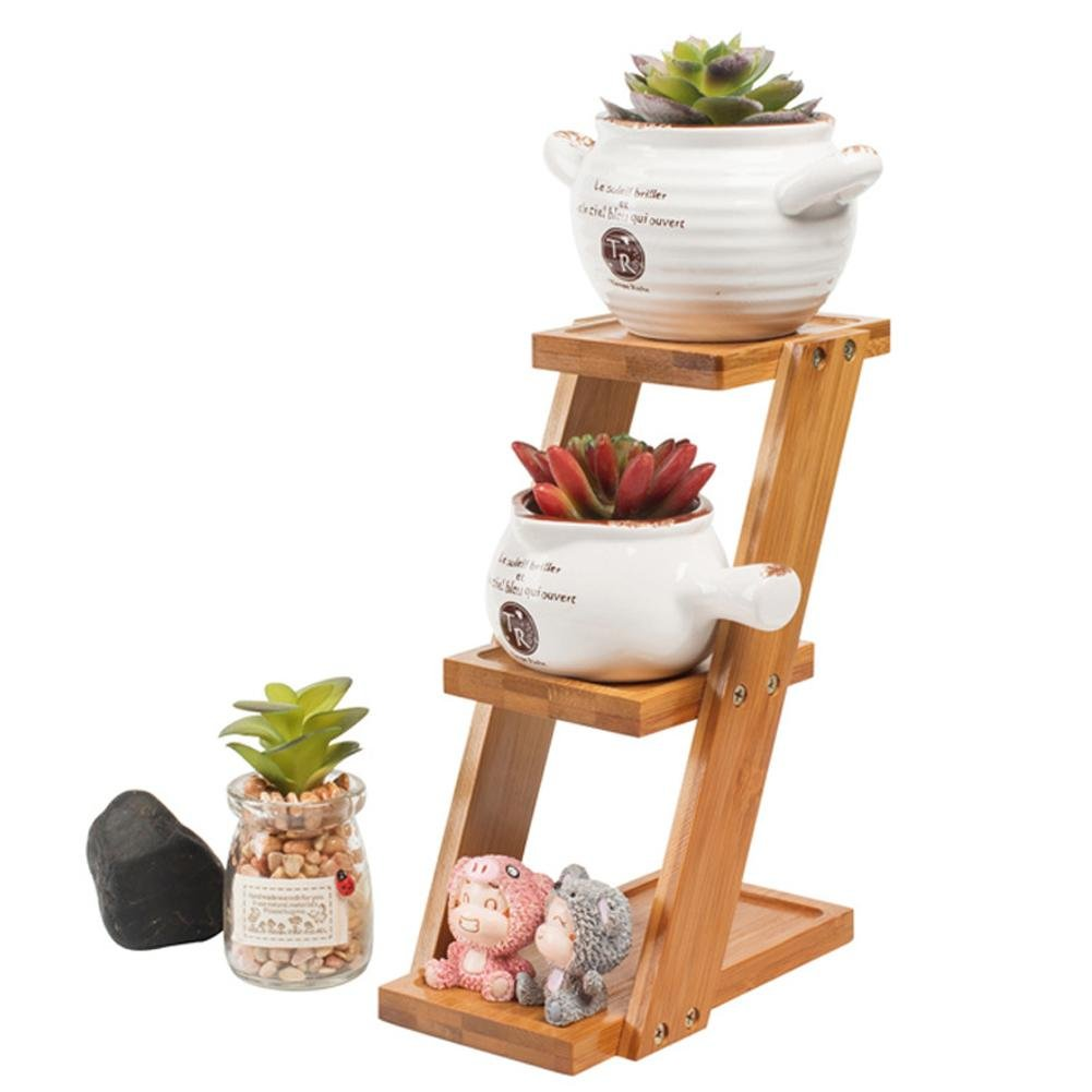3 Tiered Plant Stand Corner Shelf Flower Pots, Bamboo Wood Desktop Small Succulent Plant Stand Garden Balcony Decorative Holder Display Shelf Ladder Outdoor/Indoor (Flower Pots not Included) iBaste_S
