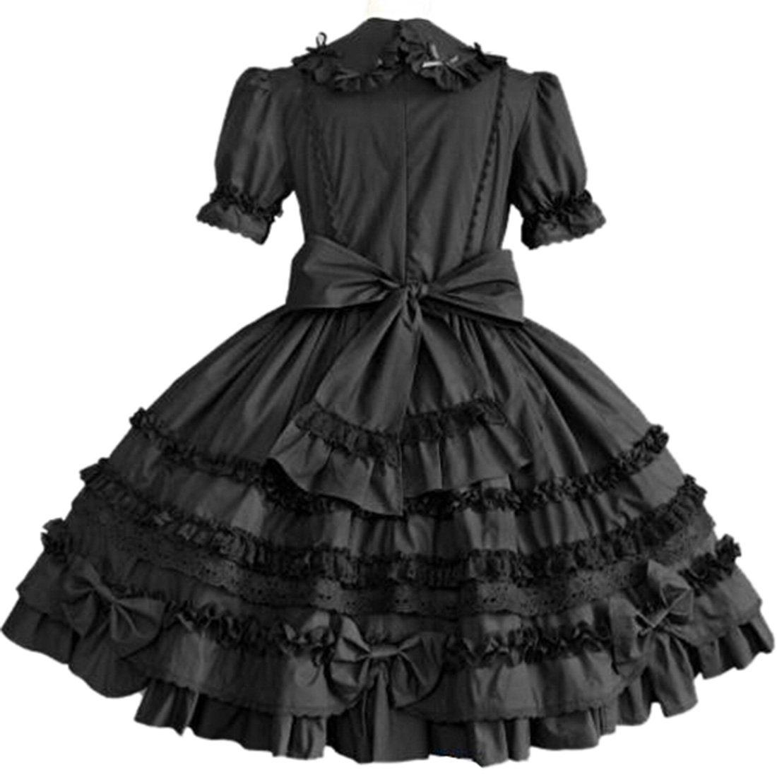 Partiss Women Long Sleeve Multi Layer Sweet Lolita Gothic Lolita Dress, XS, Black by Partiss (Image #2)