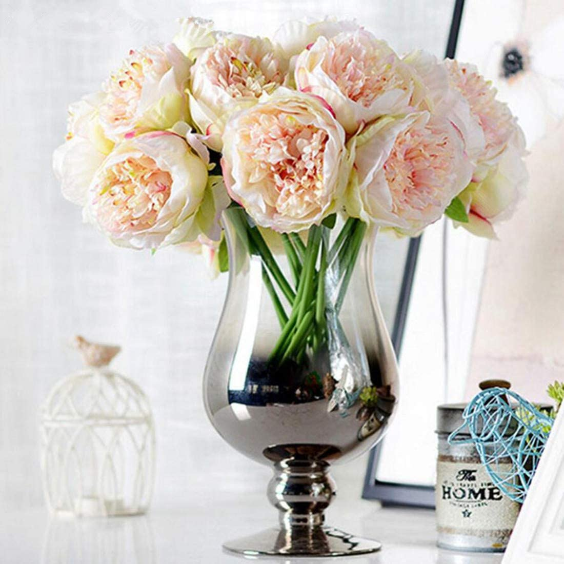 Dwe 5 Head Artificial Flower Fake Silk Peony Bridal Bouquet Christmas Wedding Party Home Decorative Champagne Amazon Co Uk Kitchen Home