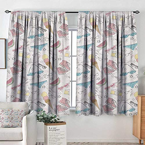 All of better Teen Room Room Darkening Curtains Girlish Sunglasses Camera Ice Cream Underwear Watermelon Modern Graphic Print Decor Curtains by 63