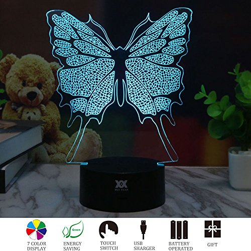 3D Illusion Animal Butterfly LED Desk Table Night Light Lamp 7 Color Touch Lamp Kiddie Kids Children Family Holiday Gift Home Office Childrenroom Theme Decoration by HUI YUAN