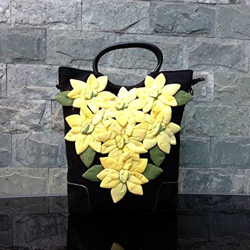 Girl BISSER Fille Bisser Paon Town Original innovant Style Ethnique rétro Cousu à la Main Sauvage épaule Sac à Main Hand-stitched (yellow)