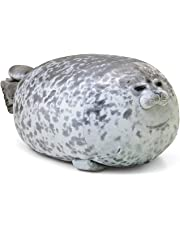 Blivener Chubby Blob Seal Pillow Stuffed Cotton Plush Animal Toy Cute Ocean Pillow Pets Grey Large