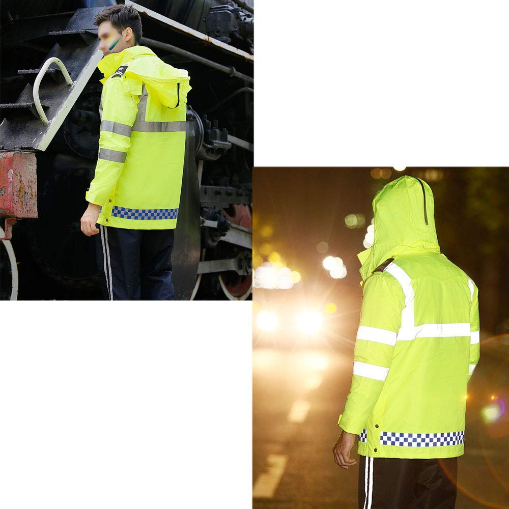 YYHSND Reflective Raincoat, Traffic Warning Adult Split Reflector, Motorcycle Riding Thick Waterproof Suit Reflective Vests (Size : XL) by YYHSND (Image #4)