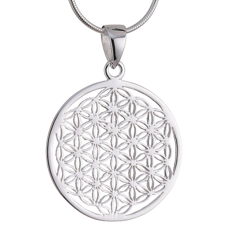 Vinani Anhänger Lebensblume Blume des Lebens Mandala klein mit  Schlangenkette Sterling Silber 925 Kette Italien ALB 7e1cf14a14