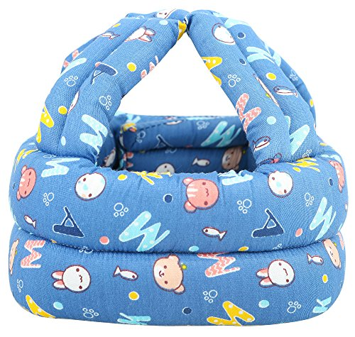 - Simplicity Baby No Bumps Safety Helmet Head Cushion Bumper Bonnet, Blue Letter