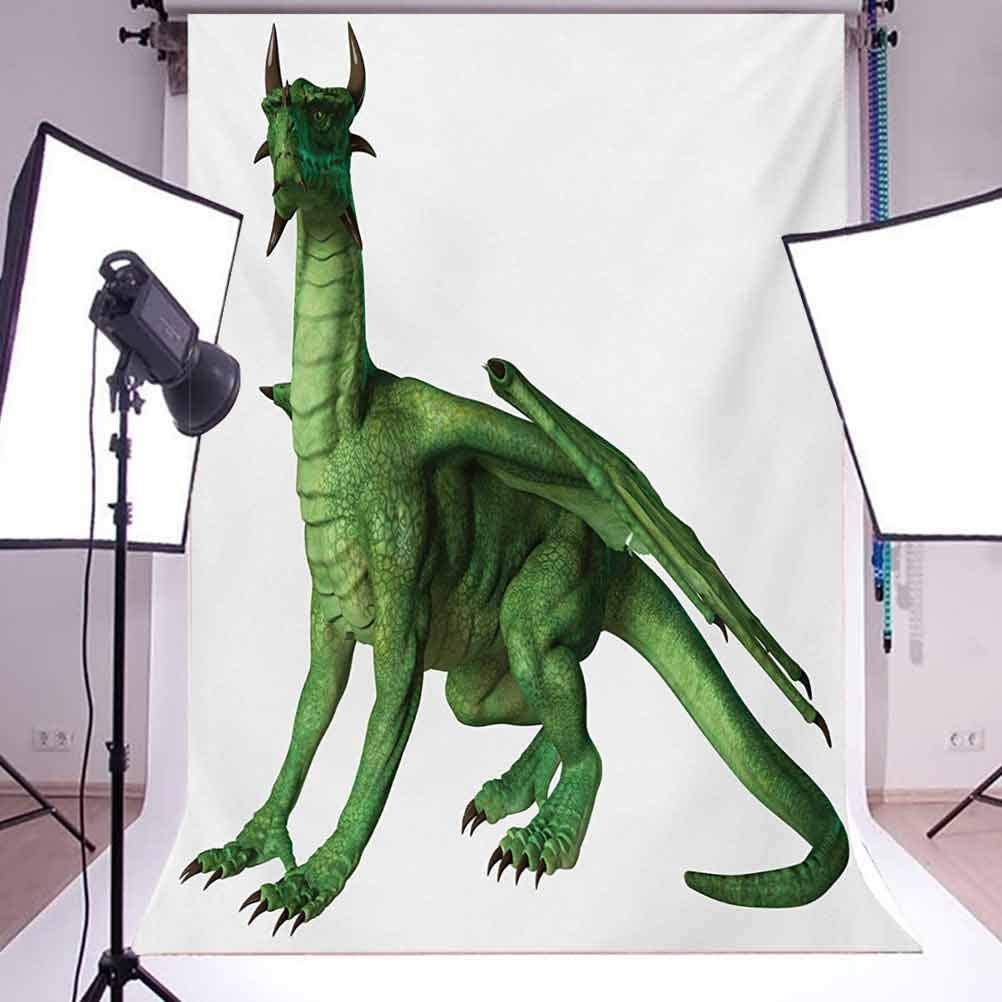 Kids 6x8 FT Photo Backdrops,Ugly but Cute Dragon Standing and Looking Miniature Dino Like Image Artwork Print Background for Baby Shower Bridal Wedding Studio Photography Pictures Green and White
