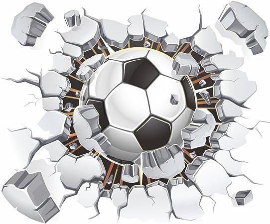 Balón de fútbol Fútbol roto 3d Adhesivos de pared pegatinas de pared vinilo adhesivo decorativo extraíble decorativos, para sala de estar habitación de los niños guardería, los niños dormitorio: Amazon.es: Hogar
