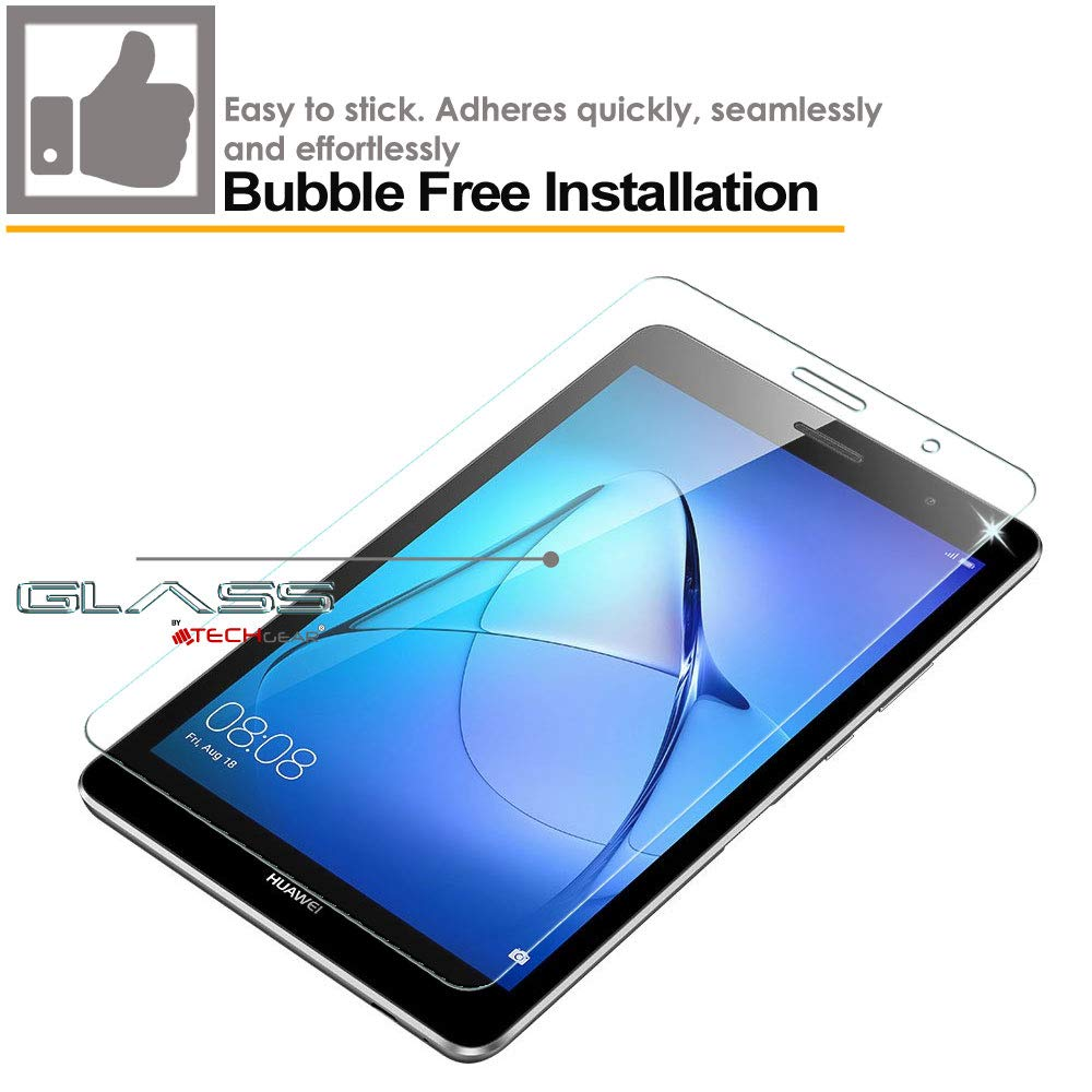 Borde 2.5D 8 Pantalla Dureza 9H TECHGEAR Vidrio Compatible con Huawei MediaPad T3 8 Sin Burbuja Resistente a los ara/ñazos - Aut/éntica Protector de Pantalla Vidro Templado