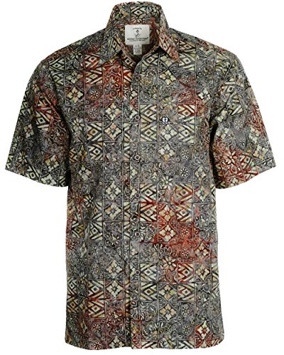 Mens New Cotton Hawaiian Shirt (Artisan Outfitters New Mens High Tide Batik Cotton Shirt (Large, California Grape) A0214-84-L)