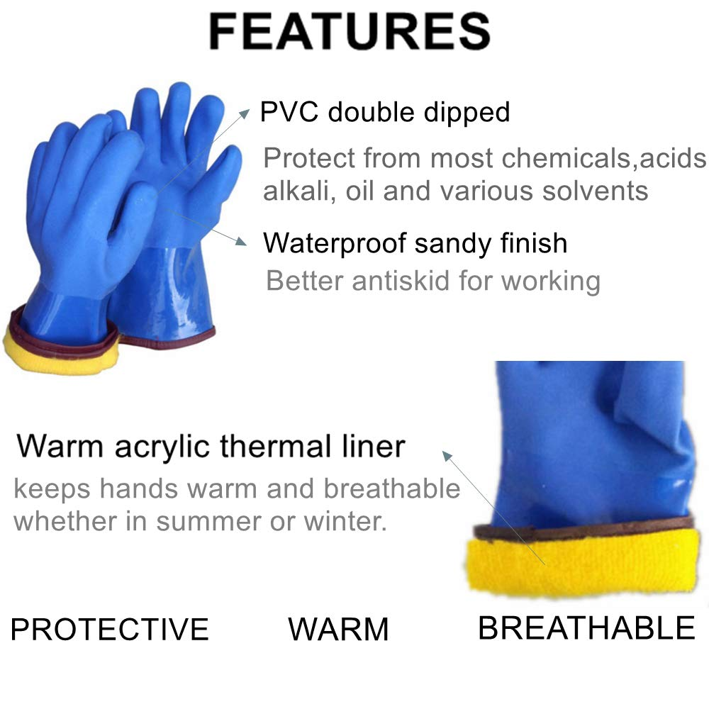 12'' Insulated & Waterproof PVC Coated Glove with Warm acrylic thermal liner, Heavy Duty Latex Gloves, Resist Strong Acid, Alkali and Oil,Fishing Operation glove-1 pair