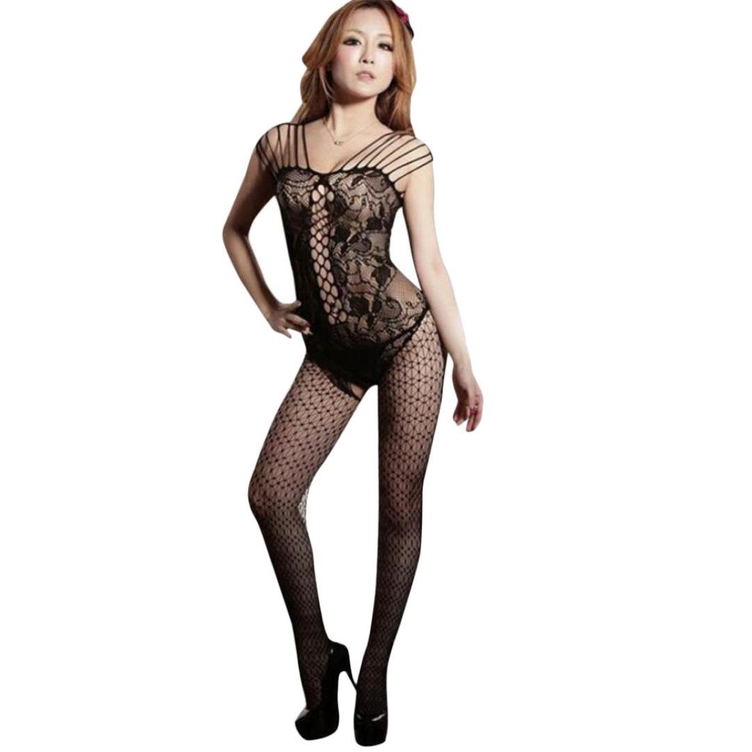 ebb6ff249 Amazon.com  Cywulin Women s Sexy Fishnet Crotchless Bodystocking Open  Crotch Strap Floral Stretch Lingerie Tights Stockings Babydoll Bodysuits   Clothing
