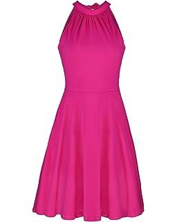 d6a729fc8a0 OUGES Women s Stand Collar Off Shoulder Sleeveless Cotton Casual Dress