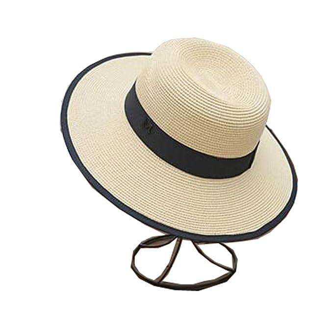 0195e2038140d Tourequi Women Floppy Sun Beach Straw Hats Wide Brim Packable Summer Cap  (Beige)
