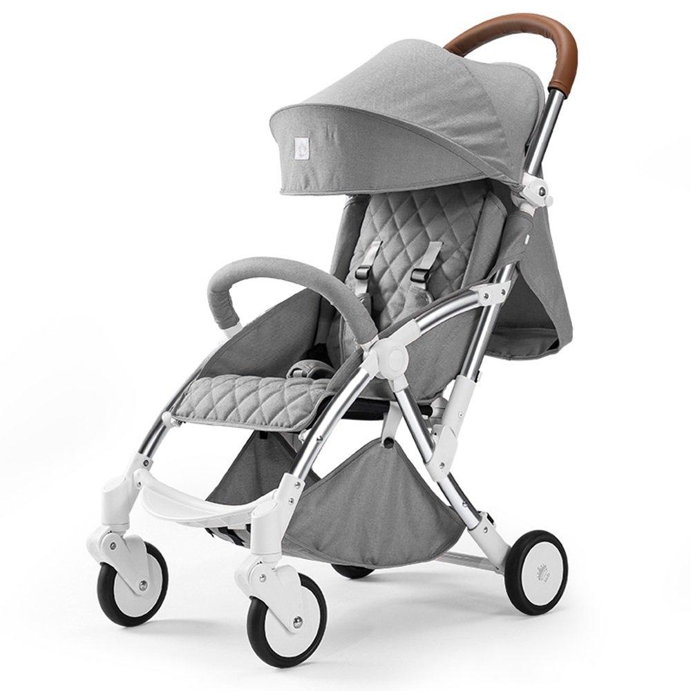 Mei Xu ベビーカー 赤ちゃんトロリー軽い折り畳みは、子どもが四輪ショックアブソーバー車を寝かせることができる (色 : ライトグレー)  ライトグレー B07MKNHXQL