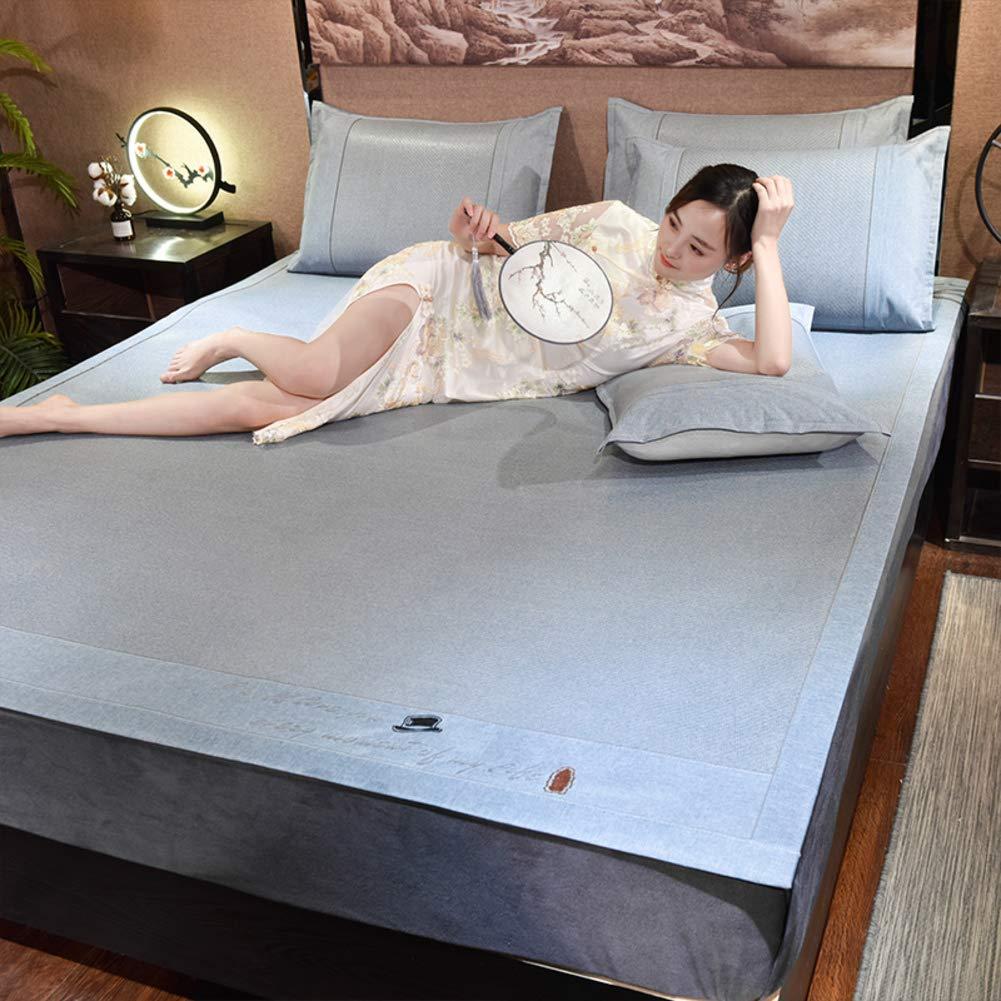 式 ベッド マットレス パッド, 氷の絹 3 個入り 夏 ダブルベッド 男女 インドネシアの籐 エアコン 柔らかいマット トッパー プロテクター-E 180x200cm B07QSRPVBJ E 180x200cm