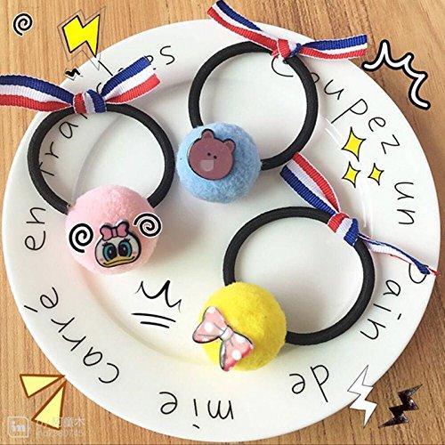 Korean new cartoon plush hairball stripe bow tie hair ring Elastic Hair ornament for women girl - Ornament Ball Stripe