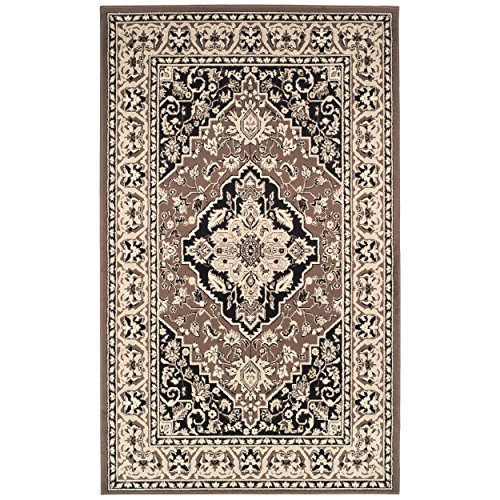 Superior Elegant Glendale Collection Area Rug, 8mm Pile Height with Jute Backing, Traditional Oriental Rug Design, Anti-Static, Water-Repellent Rugs - Brown, 4