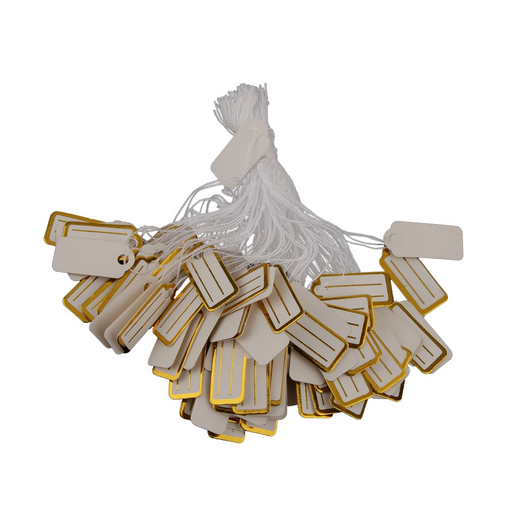 500pcs Label Paper Tag String Jewelry Price Display Luggage White Golden - White Golden 2.25 x 1 cm MagiDeal STK0156003890