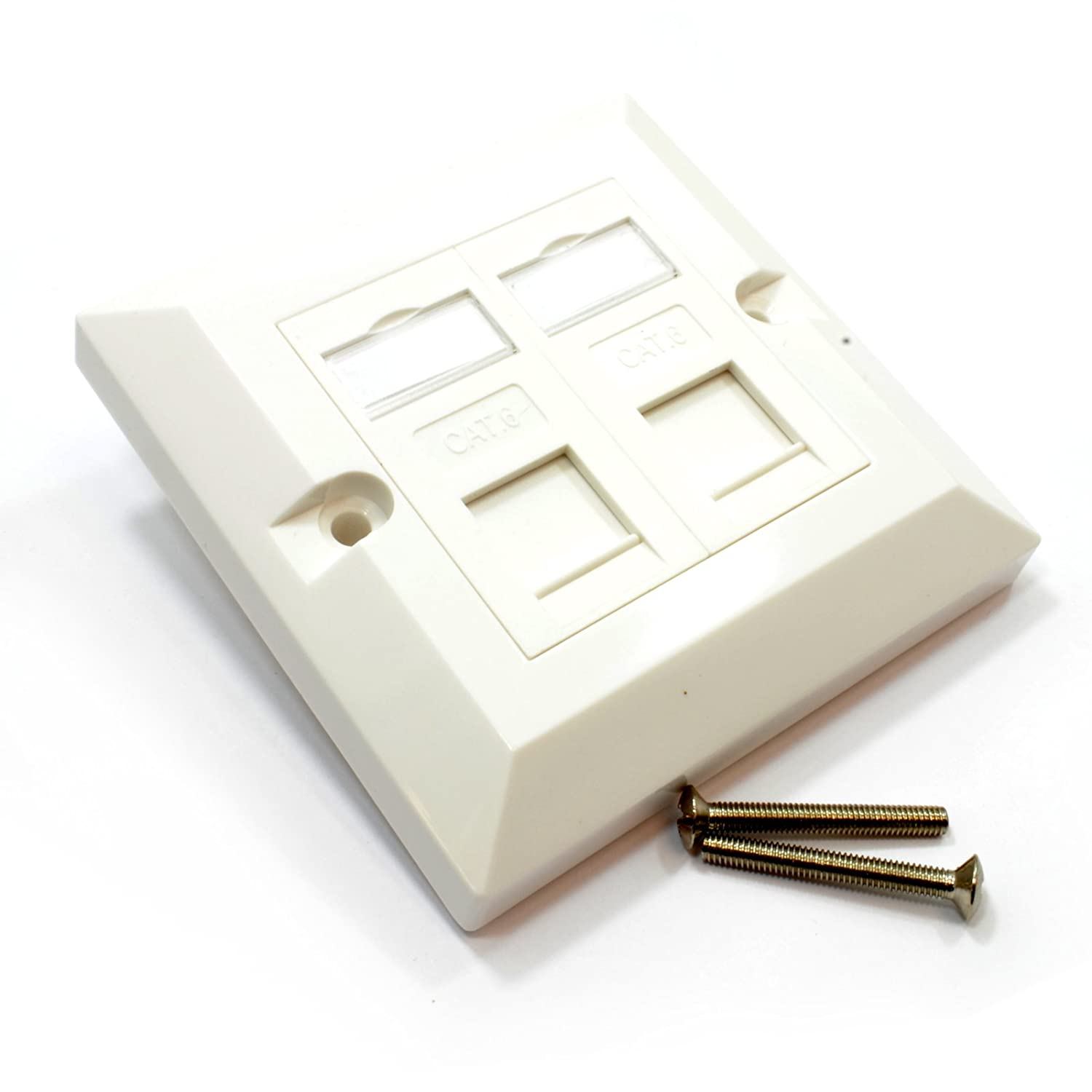 Pro Signal Cs13673 Rj45 Face Plate Wall Sockets Cat6 Double 2 Port Wiring Cat 6 Faceplate With Keystones Jacks Computers Accessories